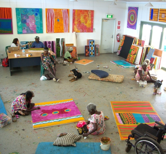 View of the Mangkaja studio with artists at work. © Mangkaja Arts Resource Agency 2014