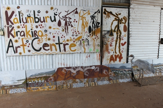 A visiting Brolga inspects new works on paper out the front of the art centre. © Andrew Barker & Kira Kiro Art Centre 2014