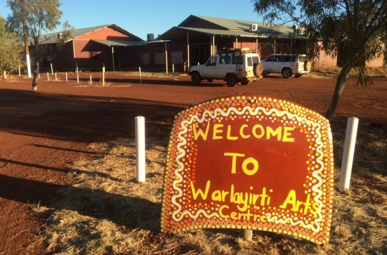 Welcome sign to Warlayirti Art Centre.© AGWA 2016