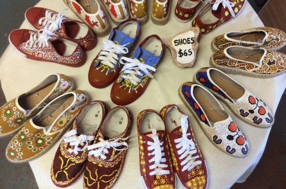 Painted shoes for sale at Warruyanta Art Centre in Mulan. © AGWA 2016