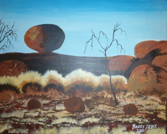 Barry Demi, Devils Marbles 2010 © Yarliyil Art Centre