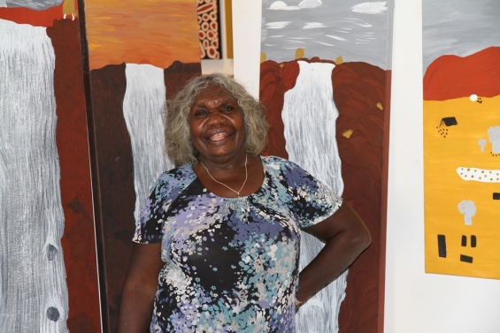 Agnes Armstrong at Waringarri Aboriginal Arts Gallery. © AGWA 2014