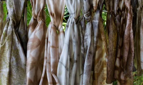 Dyed silk scarves by Amanda Smith © Marnin Studio