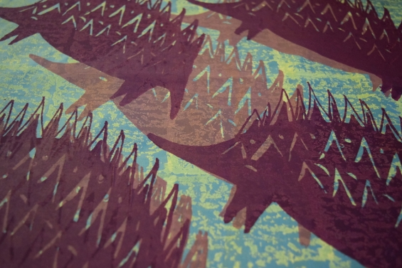 April Jones, All seasons echidna design printed on fabric © Marnin Studio