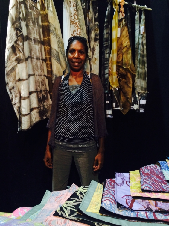 Amanda Smith at the Marnin Studio stall  during the 2015 Darwin Aboriginal Art Fair © Marnin Studio 2015