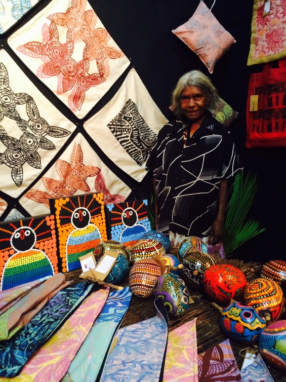 April Jones at the Marnin Studio stall  during the 2015 Darwin Aboriginal Art Fair © Marnin Studio 2015