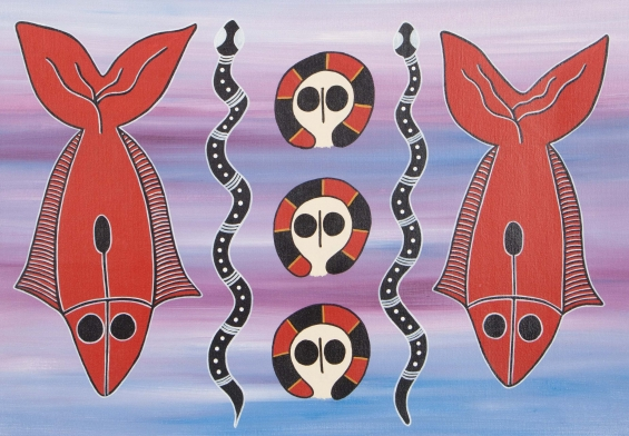 Robyn Mungulu, Wandjina & Jaiya (Fish) 2015 © Mowanjum Aboriginal Art and Culture Centre