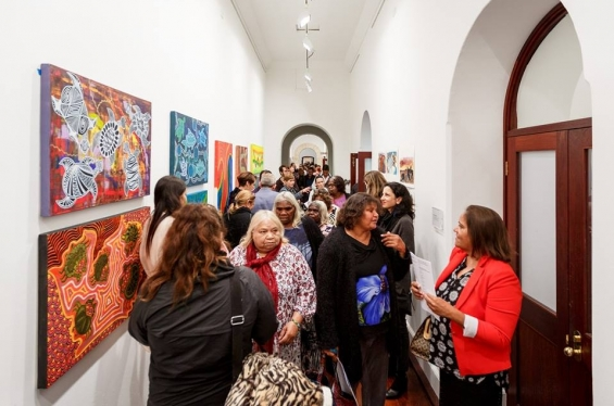 Visitors at the Revealed exhibition © Jess Wyld & Fremantle Art Centre 2017