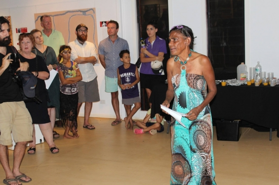 Dora Griffiths speaking at the exhibition opening. © Waringarri Aboriginal Arts 2017