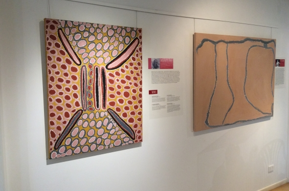 Artworks by Mignonette Jamin and Peter Newry in the Our Legacy exhibition © AGWA 2018