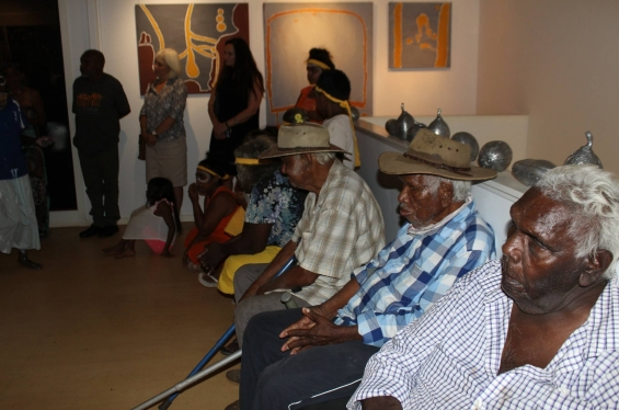 Senior elders observing the speeches at the exhibition opening. © Waringarri Aboriginal Arts 2017