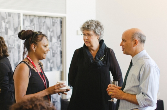 Jeannette Swan, AGWA Director, Stefano Carboni and Development Director Lyn-Marie Hegarty at the Art Gallery of Western Australia, Emerging Leaders Symposium, 2013