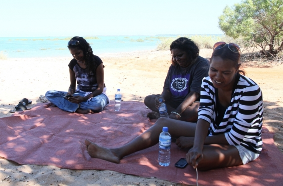 Bianca Nargoodah, Lillie Spinks and Amanda Smith at Roebuck Bay for the cultural tour by Jimmy Edgar during the 2015 Visual Arts Leadership Program in Broome © AGWA