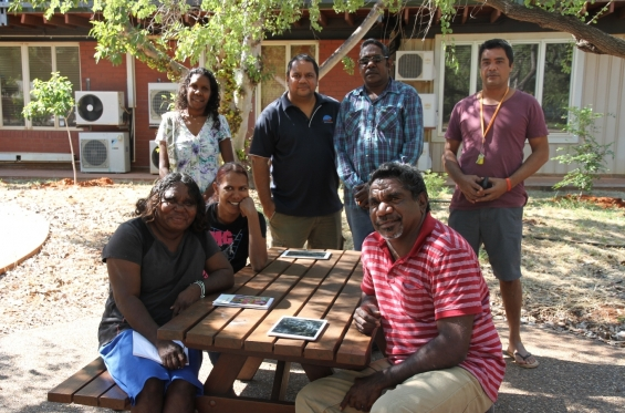 (L-R) 2015 Visual Arts Leadership Program participants Lillie Spinks, Bianca Nargoodah, Amanda Smith, Michael Jalaru Torres, Mark Nodea, Garry Sibosado & Japarti Joseph Nuggett at Notre Dame University, Broome © AGWA