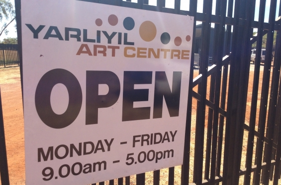 Sign out the front of the new Yarliyil Art Centre in Halls Creek © AGWA 2015