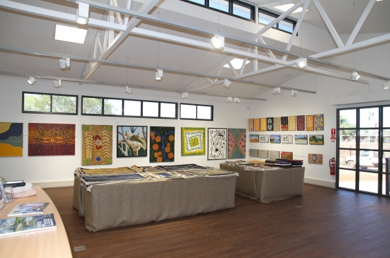 Interior view of the new Yarliyil Art Centre Gallery space in Halls Creek © AGWA 2015