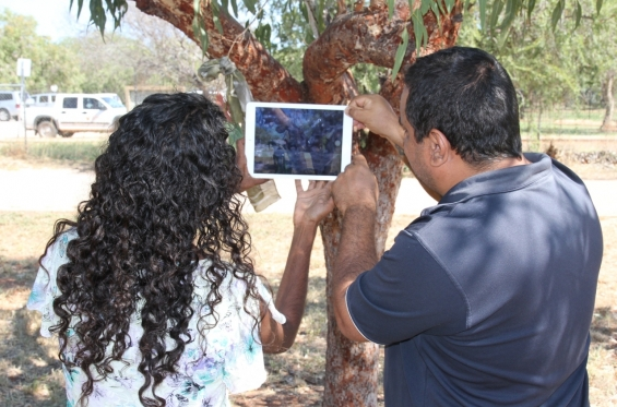 Michael Jalaru Torres assisting Amanda Smith during the practical workshop at the Visual Arts Leadership Program at the University of Notre Dame, Broome. © AGWA 2015