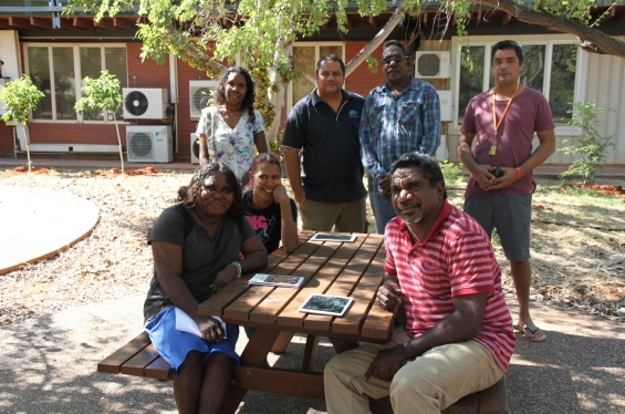 (L to R) Lillie Spinks, Bianca Nargoodah, Amanda Smith, Michael Jalaru Torres, Mark Nodea, Garry Sibosado & Japarti Joseph Nuggett during the practical workshop at the Visual Arts Leadership Program at the University of Notre Dame, Broome. © AGWA 2015
