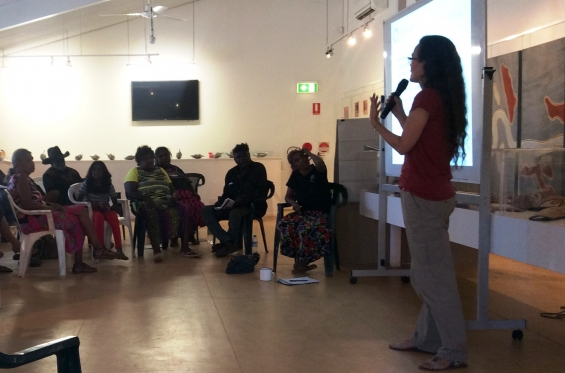 DRS Project Coordinator, Philippa Jahn presents at the 2015 ANKAAA Kimberley Regional Meeting at Waringarri Aboriginal Arts © AGWA