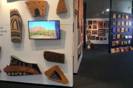 The Desert River Sea/Indigenous Community Stories produced Warmun film being screened in the Warmun Art Centre retail gallery © AGWA 2015