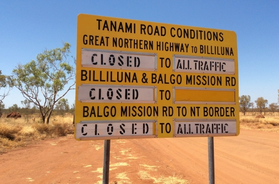 Road to Balgo, sign showing road closures © AGWA 2015