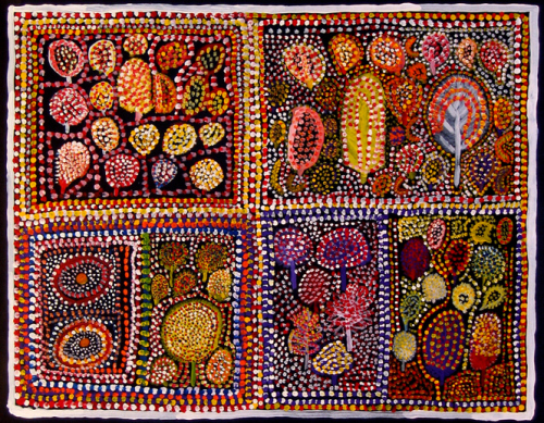 Loongkoonan, Bush Tucker in Nyikina Country, acrylic on canvas, 2006
