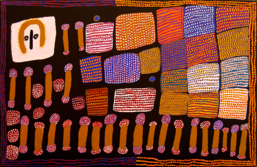 Lucy Ward, Wandjina and Sugarbag, acrylic on canvas, 2006