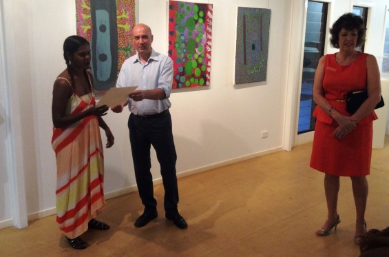 Anthea Nargoodah receiving her course completion certificate from Stefano Carboni, AGWA Director and Lynne Hargreaves, Director of Exhibitions during the 2016 Visual Arts Leadership Program workshop. © Art Gallery of WA 2016