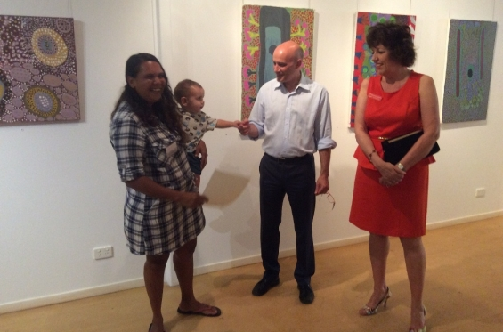 Lynley Nargoodah receiving her course completion certificate from Stefano Carboni, AGWA Director and Lynne Hargreaves, Director of Exhibitions during the 2016 Visual Arts Leadership Program workshop. © Art Gallery of WA 2016