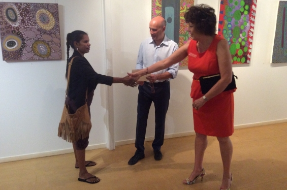 Rowena Morgan receiving her course completion certificate from Stefano Carboni, AGWA Director and Lynne Hargreaves, Director of Exhibitions during the 2016 Visual Arts Leadership Program workshop. © Art Gallery of WA 2016