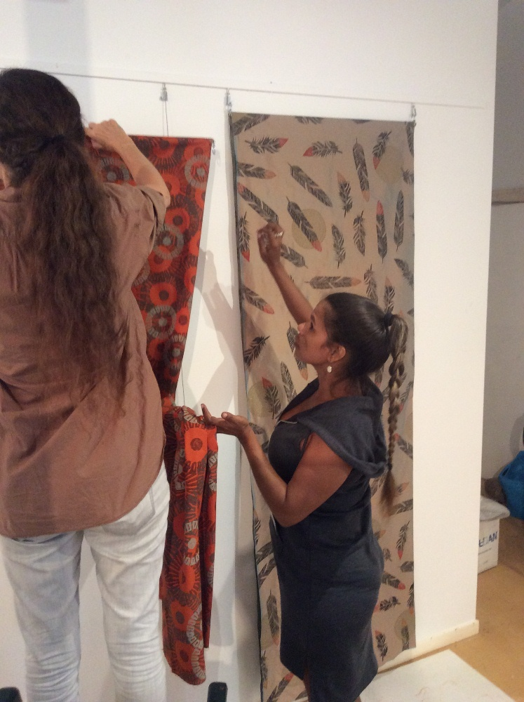 Rowena Morgan hanging her textiles during the 2016 Visual Arts Leadership Program workshop. © Art Gallery of WA 2016