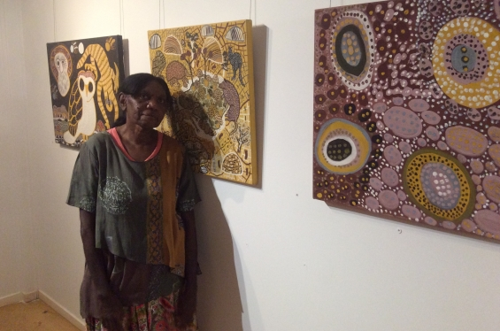 Visual Arts Leadership Program participant Betty Bundamurra at the inaugural Desert River Sea exhibition opening in Kununurra after completing the 2016 curating workshop © AGWA