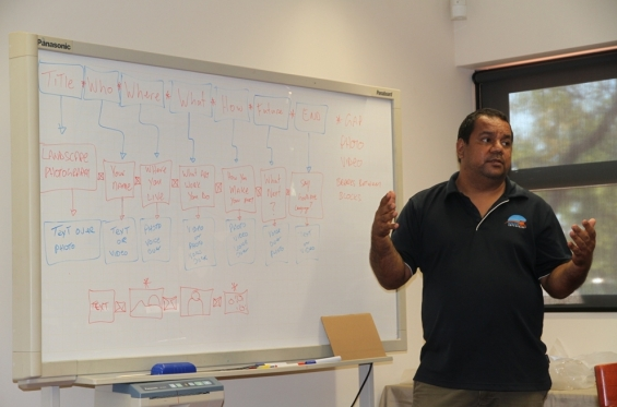 Visual Arts Leadership Program participant Michael Torres explaining the approach to storytelling from a filmmakers perspective to the rest of the participants at the 2015 Visual Arts Leadership Program at Notre Dame University, Broome © AGWA