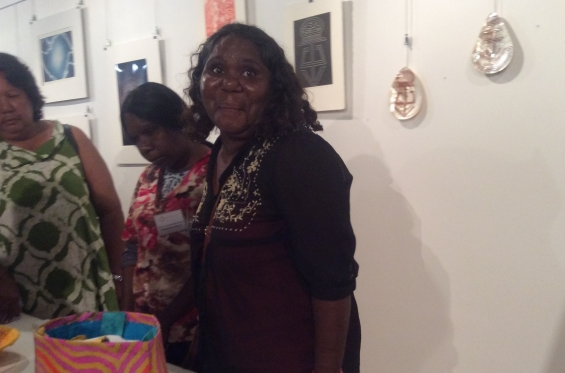 Visual Arts Leadership Program participant Lilly Spinks at the inaugural Desert River Sea exhibition opening in Kununurra after completing the 2016 curating workshop © AGWA