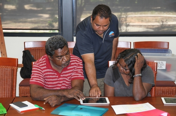 Visual Arts Leadership Program participant Joseph Nuggett with fellow participants Michael Jalaru Torres and Lillie Spinks during the 2015 Visual Arts Leadership Program workshop at Notre Dame University, Broome © AGWA