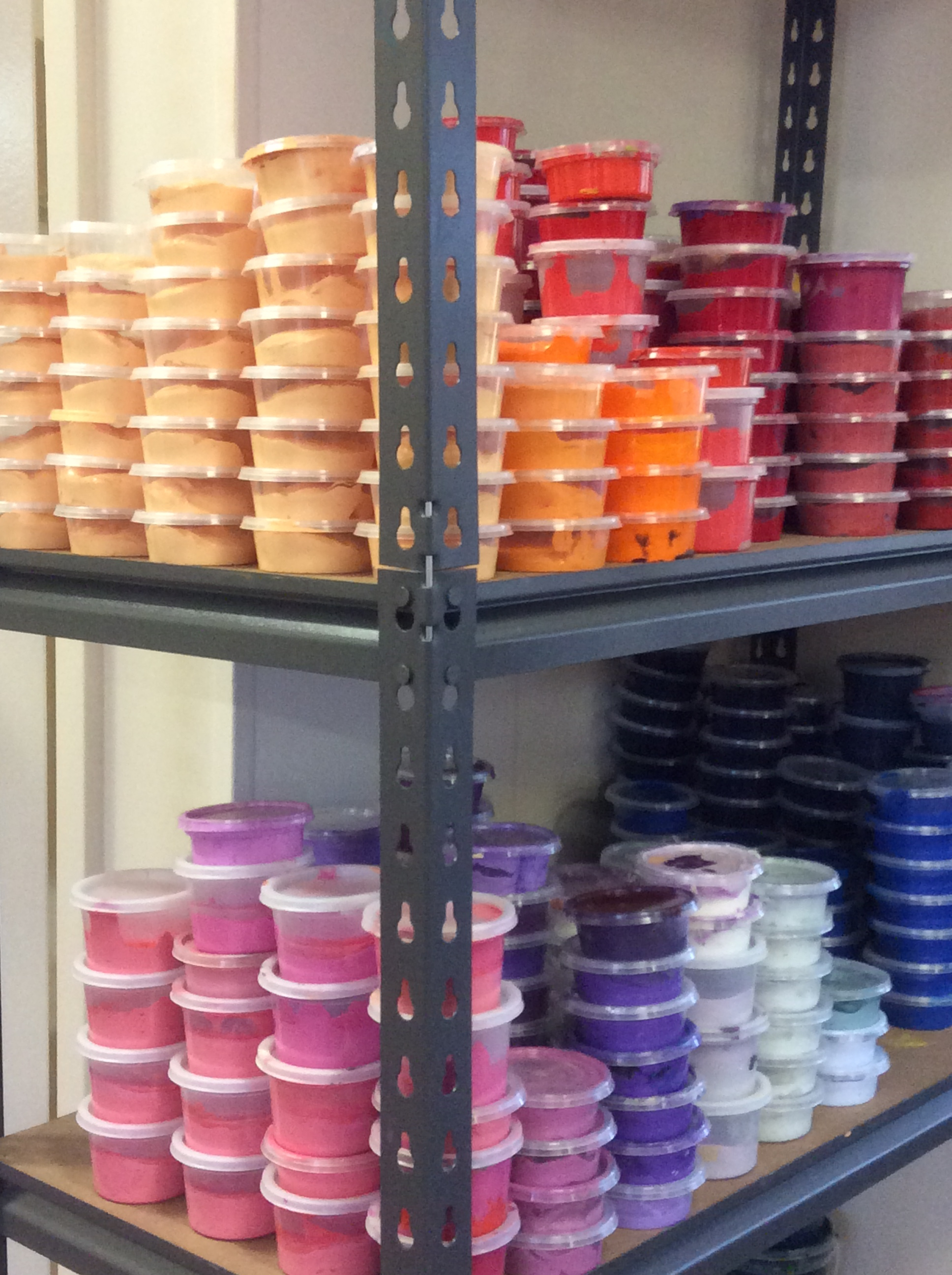 Acrylic paint pots in the Yarliyil Art Centre studio © AGWA 2015