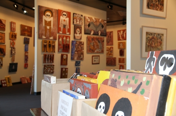 Artworks for sale at the Mowanjum Art & Culture Art Centre retail gallery © AGWA 2015
