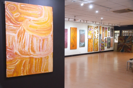 Artworks on display in the Warlayirti Artists Art Centre galleries. © AGWA 2016