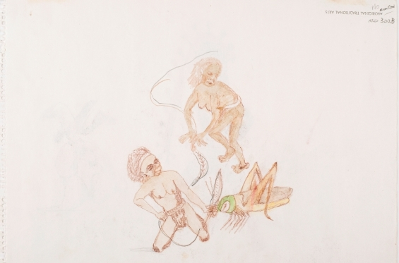 Butcher Joe Nangan, Untitled, 1982, black pencil and watercolour, 27 x 37 cm, Art Gallery of Western Australia, Perth