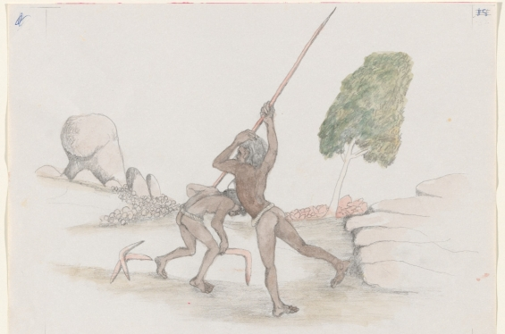 Butcher Joe Nangan. Piwit Driven off by his Mother, c. 1979, black pencil and watercolour, National Gallery of Australia, Canberra