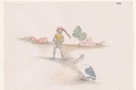 Butcher Joe Nangan. Mayata - the Pelican, c1979, black pencil and watercolour, National Gallery of Australia, Canberra