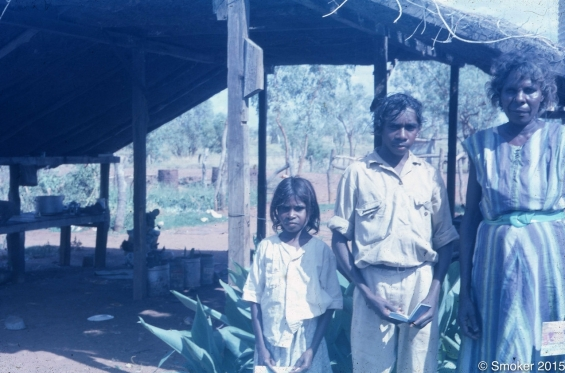 Mervyn Street (middle) with his sister and mother, 1963. Image courtesy of the Smoker family and mibalafoto.com.au