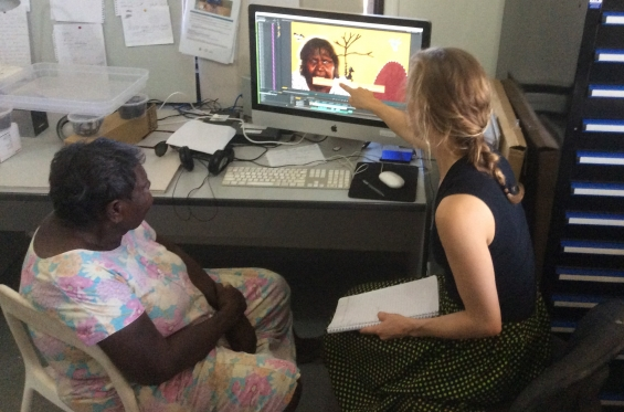 Warmun artist Shirley Purdie giving instructions for her animation to new media facilitator, Bernadette Trench-Theidemann, at the Warmun Art Centre Media Lab. Warmun, Oct 2017 © AGWA