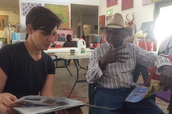 AGWA curator Carly Lane speaking with artist Mervyn Street at Mangkaja Art Centre in Fitzroy Crossing. Nov 2017 © AGWA 2017
