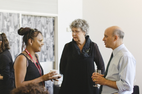 Jeannette Swan, AGWA Director, Stefano Carboni and Development Director Lyn-Marie Hegarty at the Art Gallery of Western Australia, 2013 Emerging Leaders Symposium.