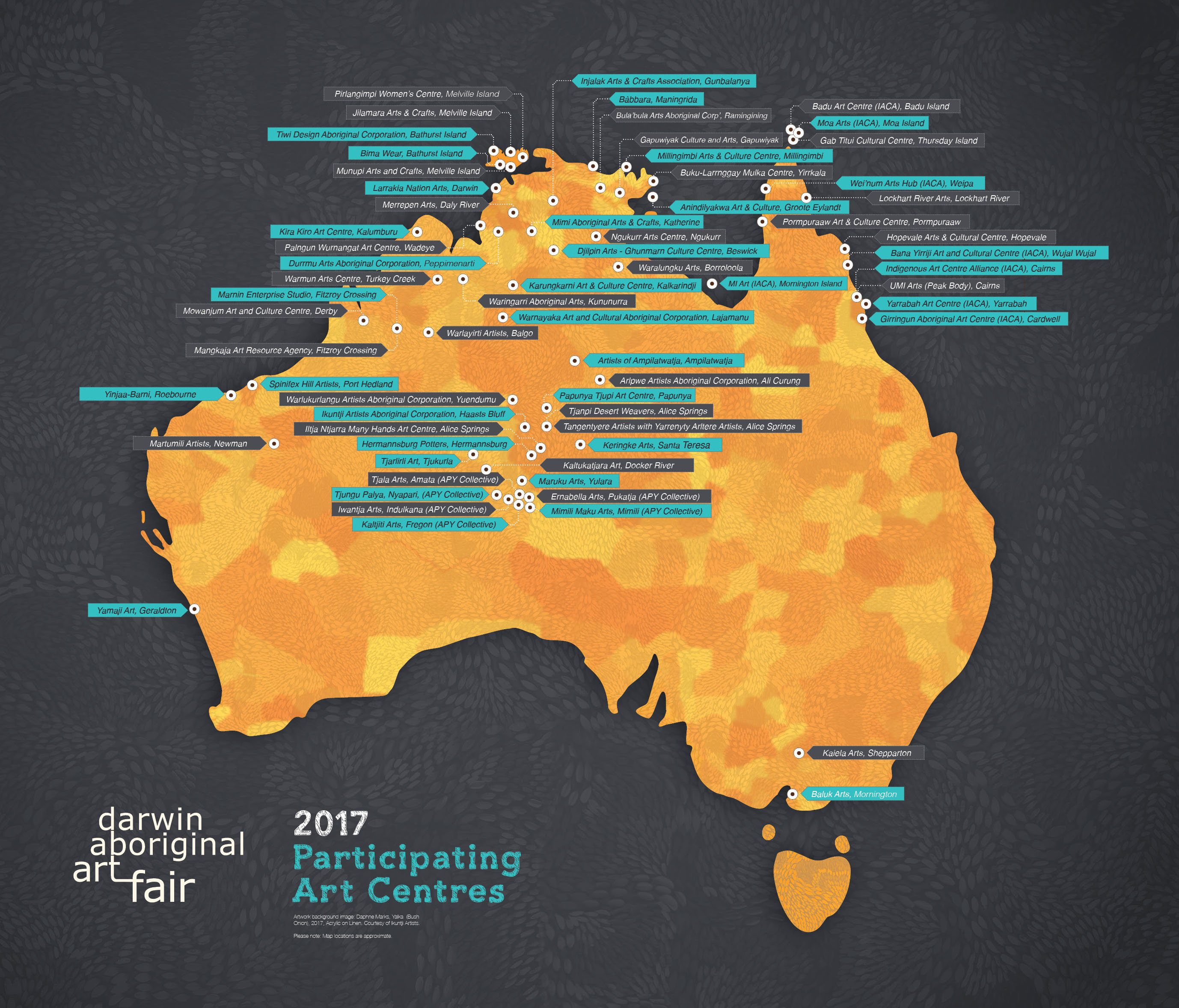 Map of participating art centres at DAAF 2017