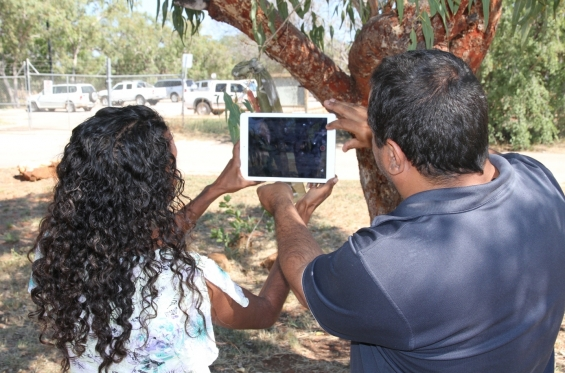 Amanda Smith and Michael Jalaru Torres filming during the 2015 Visual Arts Leadership Program Workshop in Broome © AGWA