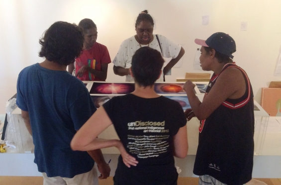 Carly Lane, AGWA Curator of Aboriginal and Torres Strait Islander Art guiding the 2016 DRS Visual Arts Leadership Program participants Garry Sibosado, Nancy Daylight, Kirsty Burgu and Lutisha Woolagoodja through the exhibition curating process. © AGWA 2016