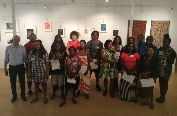 DRS 2016 Visual Arts Leadership Program Participants with AGWA staff. (L to R) Back row: Michael Jalaru Torres, Nancy Daylight, Lynne Hargreaves, Garry Sibosado, Amanda Smith, Betty Bundamurra, Lutisha Woolagoodja, Kirsty Burgu & Cessa Bani. Front row: Stefano Carboni, Lynley Nargoodah, Lillie Spinks, Francine Steele, Anthea Nargoodah, Selena O'Meara, Marika Riley