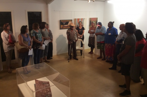 Waringarri elder Alan Griffiths giving his welcome to country address at the 2016 DRS Visual Arts Leadership Program inaugural exhibition opening in Kununurra. © AGWA